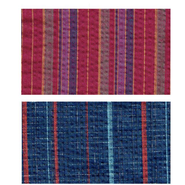 縞柄の作務衣